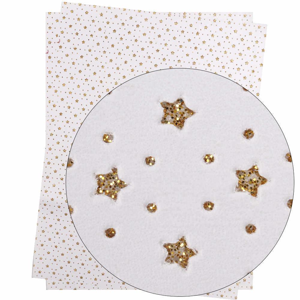 Xugar 22cm * 30cm grube gwiazda glitter Faux sztucznej skóry syntetycznej tkaniny do drukowania DIY torba Hairbow Patchwork materiał do szycia