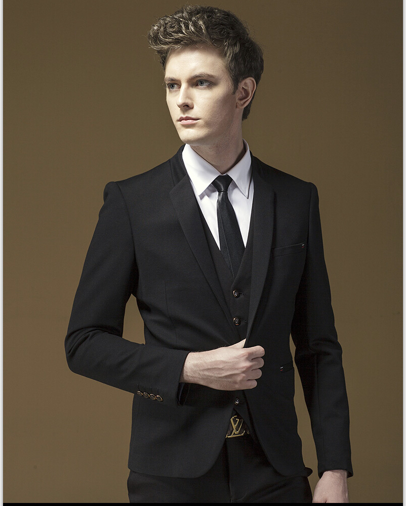 Jackets Pants Vest Tie 4 Pieces Black Split Party Dress for Young ...