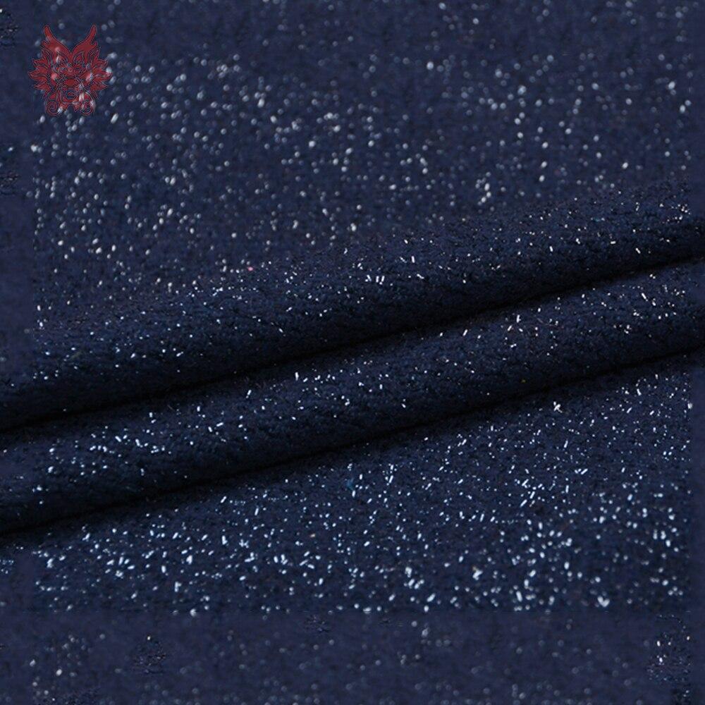 Luxury metallic weaving 85%wool fabric apparel for winter navy blue woolen tissu cloth tecidos telas stoffen for sewing SP5678