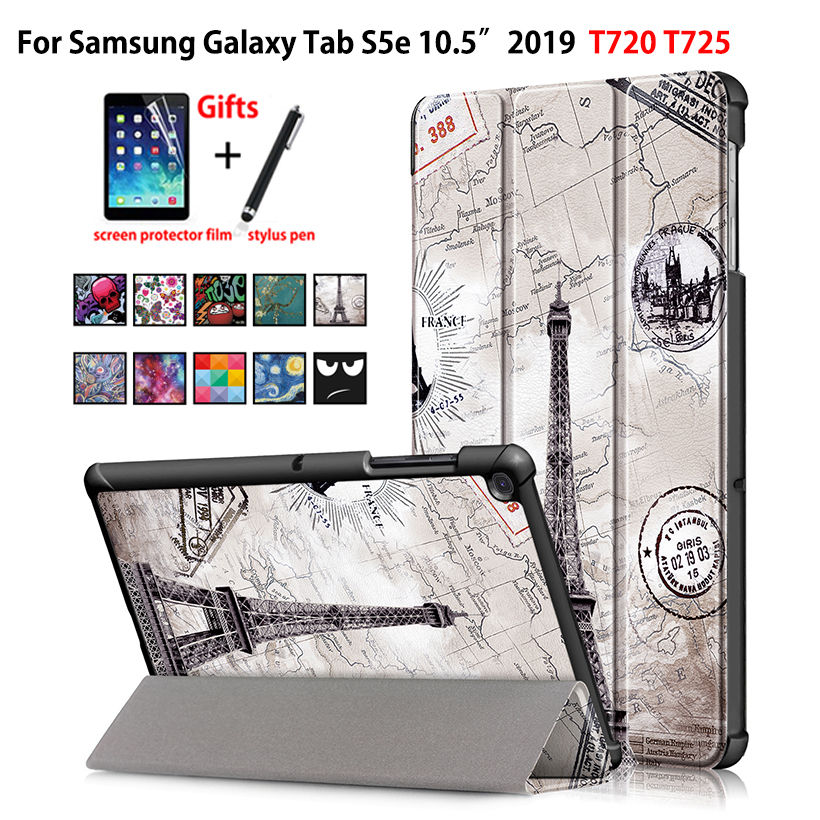 <font><b>Case</b></font> For Samsung galaxy tab S5e 10.5 2019 SM-<font><b>T720</b></font> SM-T725 Cover Funda Slim Magnetic Folding PU Leather Stand Shell +film+stylus image