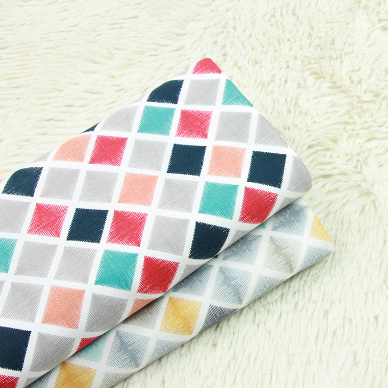 half meter twill thicken cotton fabric with geometric print, handmade DIY bag pillow back cushion cloth T546