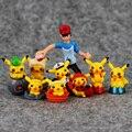 3 estilos 9 pçs/set Anime Pikachu Ash Ketchum Brock Nebuloso Com Pikachu Pvc Figuras PVC Brinquedos Figura Dolls Presente de Natal para As Crianças