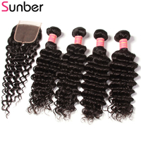 Sunber Hair Peruvian Deep Wave Bundles With Closure Remy Human Hair Extensions 4 Bundles With One Piece Closure Free Shipping