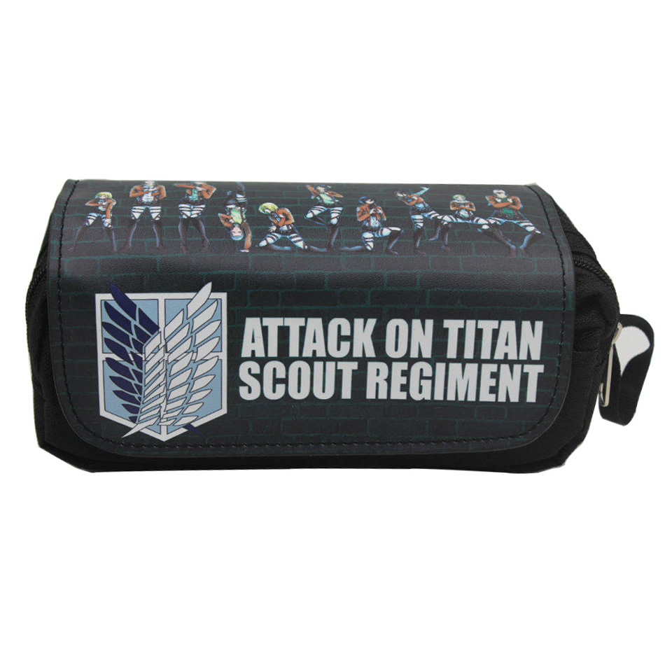Anime Attack On Titan Pencil Case Canvas Leather Pen Bags Creative Gifts Men Stationery Bag Double Zipper Pen Pencil Wallets