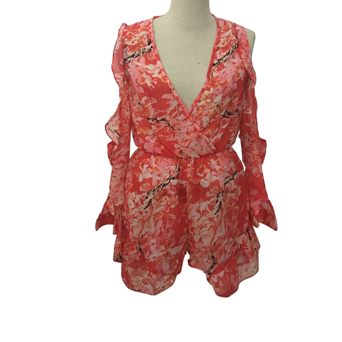08ec8f3db2b2 Shorts Rompers Women Jumpsuits Summer Ladies Red Sexy Deep V Neck Short  Sleeve Floral Tie Waist Casual Jumpsuit Playsuits-in Rompers from Women s  Clothing ...