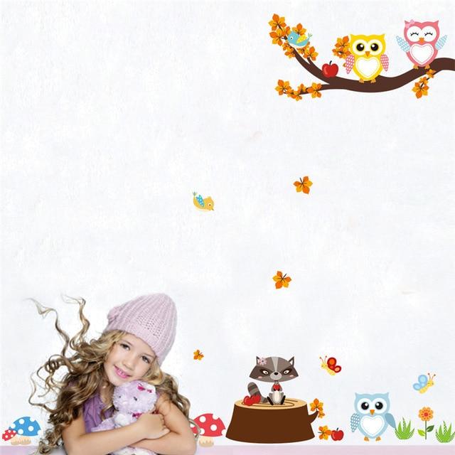 Настенные наклейки для детской комнаты с изображением мультяшного леса ветки дерева животных Совы обезьяны медведя оленя для мальчиков и девочек детская спальня домашний декор - Цвет: H0085