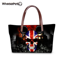 WHOSEPET Skulls Handbags for Women Cool Punk 3D Printing Neoprene Tote Handbag High Quality HandBags Waterproof Tote Bags