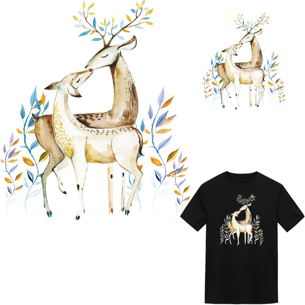 Christmas deer heat transfer sticker iron on patches for clothing transfert thermocollants t shirt hoodie parches termoadhesivos