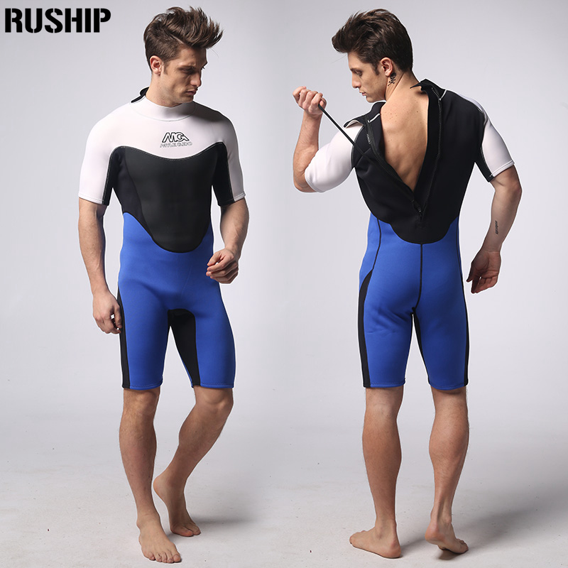 Blue 3mm Neoprene wetsuits Double nylon fabric Short paragraph diving suit surf clothing Surf Diving Equipment