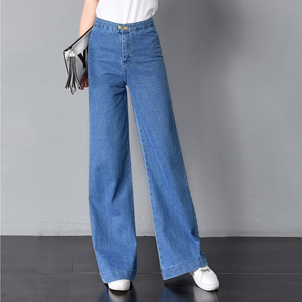 2019 New Women Vintage   Jeans   High Waist Two Buttons Wide Leg Pants Trousers Classic Washed BoyFried Style Loose Casual   Jeans