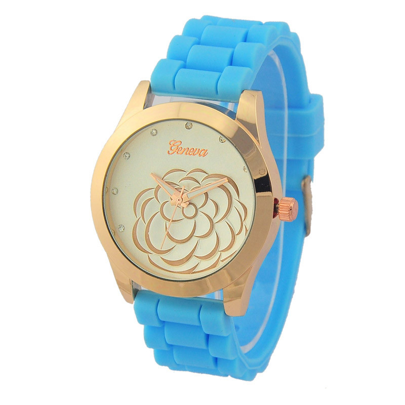 Tooptoot Reloj mujer 2016 Camellia Watch Silicone Ban