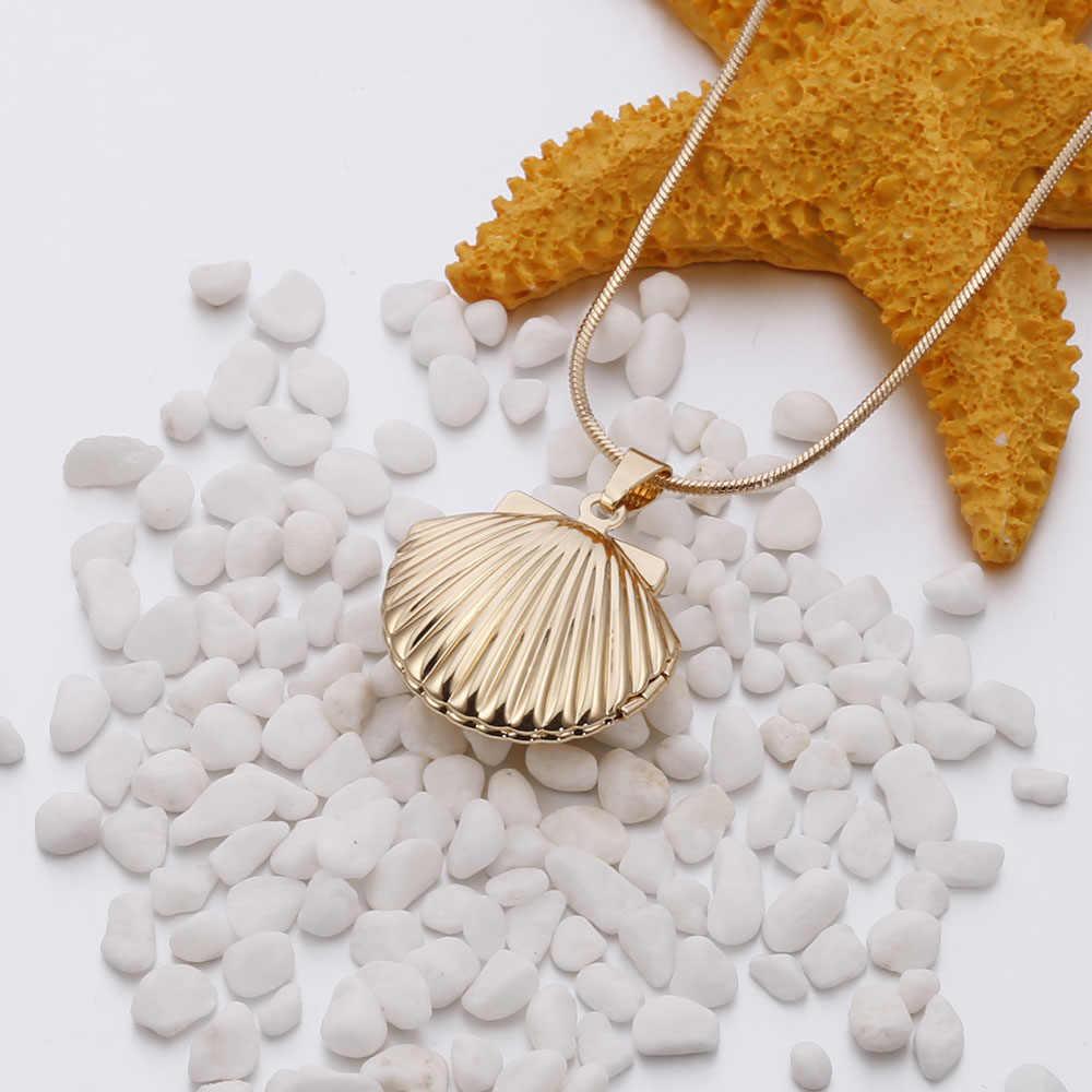 Shefly วินเทจโบราณทองเหลือง Mermaids เปลือกหอย Sea Shell สร้อยคอทองขนาดเล็ก Seashell จี้เครื่องประดับวันเกิดคอ concha