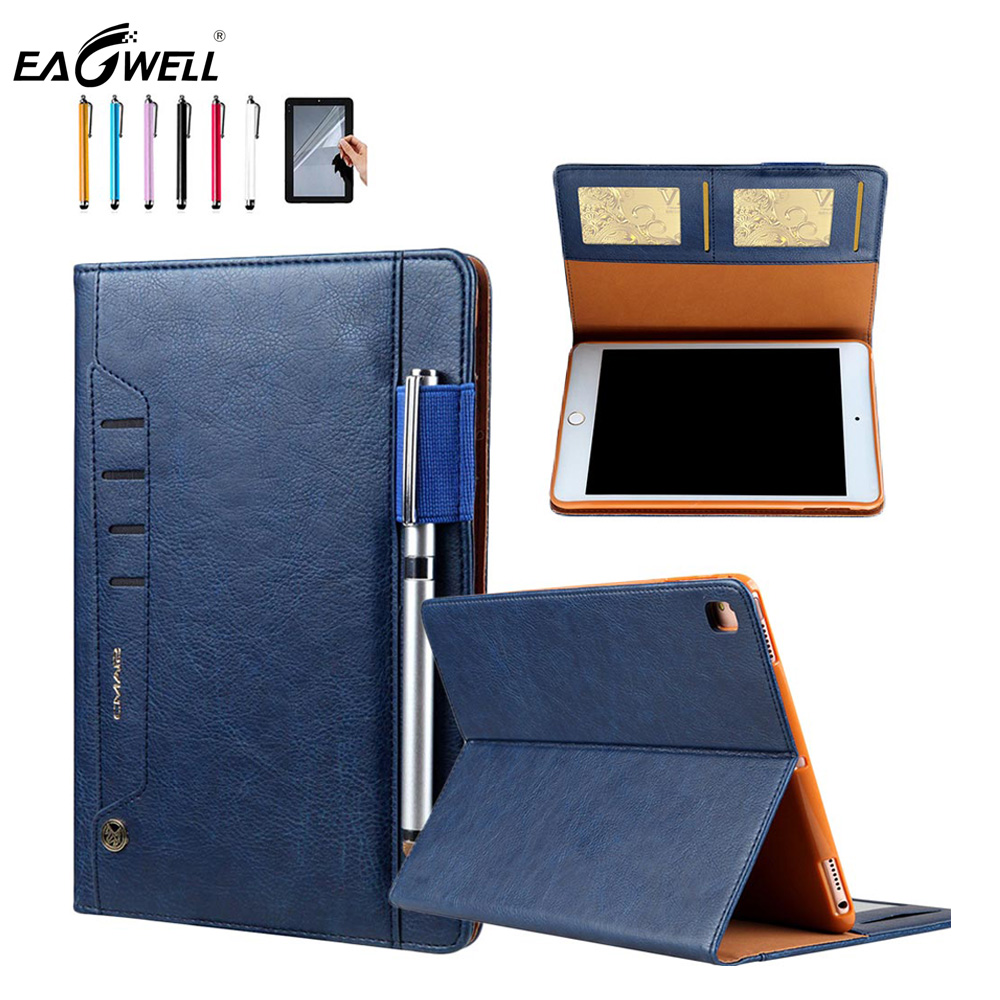 Case For iPad air/air 2 PU Leather Flip Stand Sleep/wake Tablet Cover With Pencil holder For iPad 5/6 Protective Shell Skin