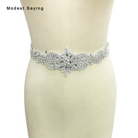 Real photo Ivory Luxury Rhinestone Bridal Belts with Crystal Beaded Wedding Sashes 2017 for Dress Women Wedding Accessories BS78