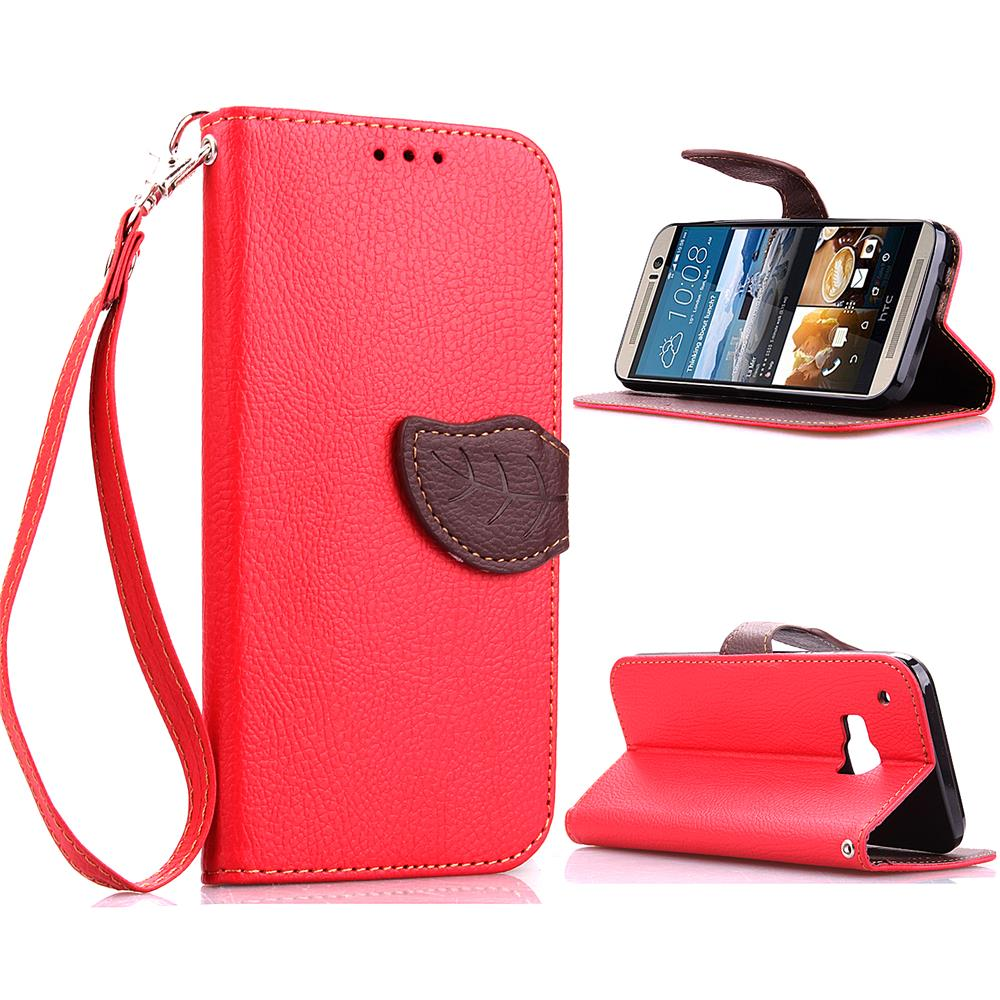 For HTC One M9 Leather Case Leaf Buckle Litchi Leather Wallet Phone Case for HTC One M9 - FREE SHIPPING