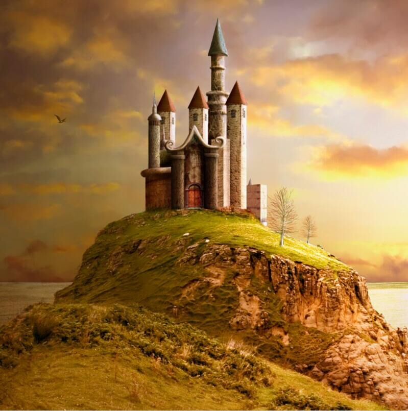 medieval backgrounds castle middle age sunset mountain river backdrops custom background zoom vinyl studio