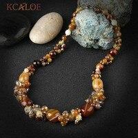 KCALOE Mode Vrouwen Vintage Crystal Natuursteen Ketting Handgemaakte Geknoopt Kralen Halfedelstenen Kettingen Collares