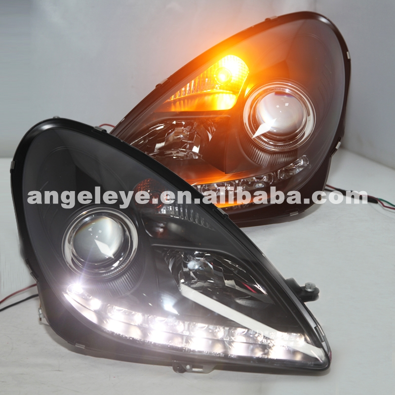 2004-2012 Year For Benz SLK <font><b>R171</b></font> SLK200 SLK350 SLK500 LED <font><b>Headlights</b></font> Black Housing with Auto Motor SN image