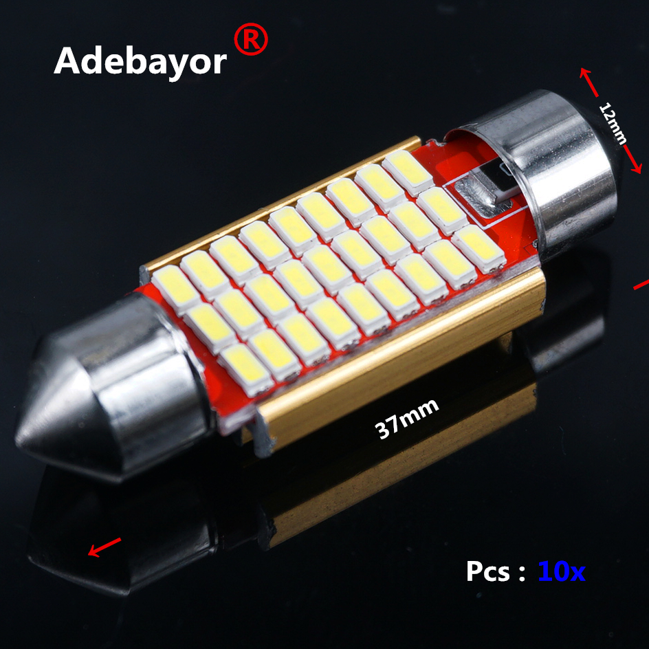 10pcs  37mm C5W 4014  27 LED CANBUS NO ERROR Car Festoon Dome Interior LED Lights Lamp Auto Map Roof Reading Bulbs high quality car auto 31mm 10 smd 4014 led canbus error free interior festoon doom light bulb pure white dc12 24v