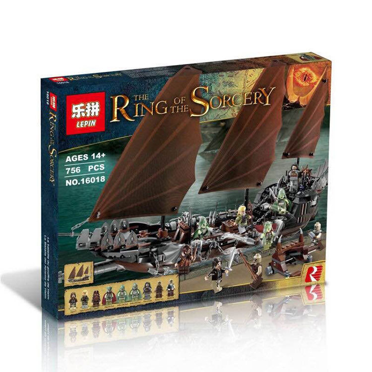 Lepin 16018 Genuine New The lord of rings Series 756pcs The Ghost Pirate Ship Set Building Block Brick Toys With 79008  lis new lepin 16018 genuine the lord of rings series the ghost pirate ship set building block brick toys 79008