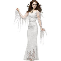 Women Wandering Soul in the Night Witch S L Halloween Ghost Bride Costumes Ghost Party Role Playing Cape White Lace Dress