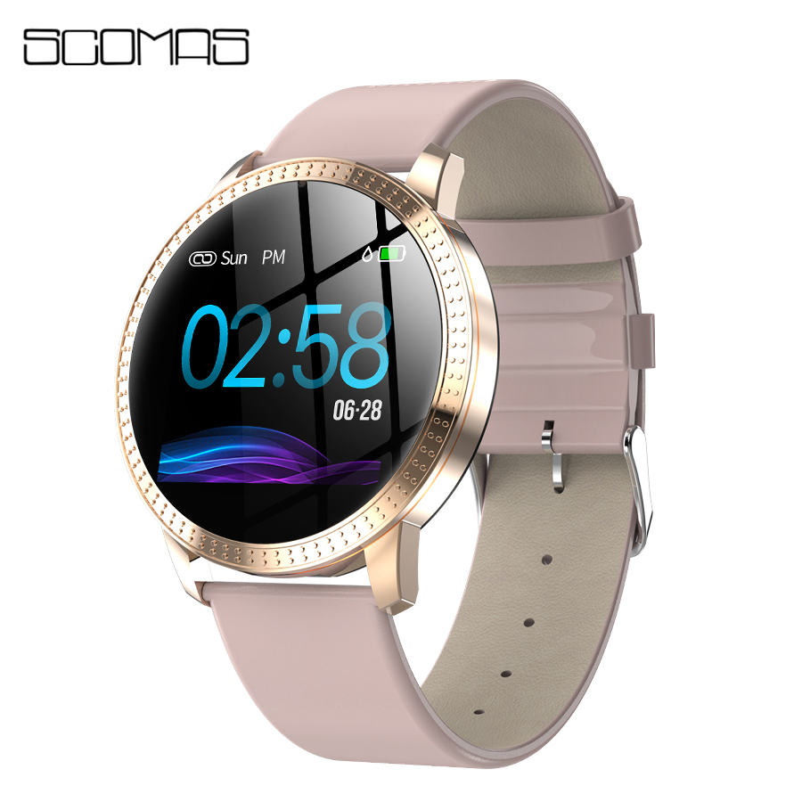 SCOMAS New Fashion Smart Watch With Exclusive Female Function 1.22IPS Tempered Glass Heart Rate Monitor BRIM Women SmartwatchSCOMAS New Fashion Smart Watch With Exclusive Female Function 1.22IPS Tempered Glass Heart Rate Monitor BRIM Women Smartwatch