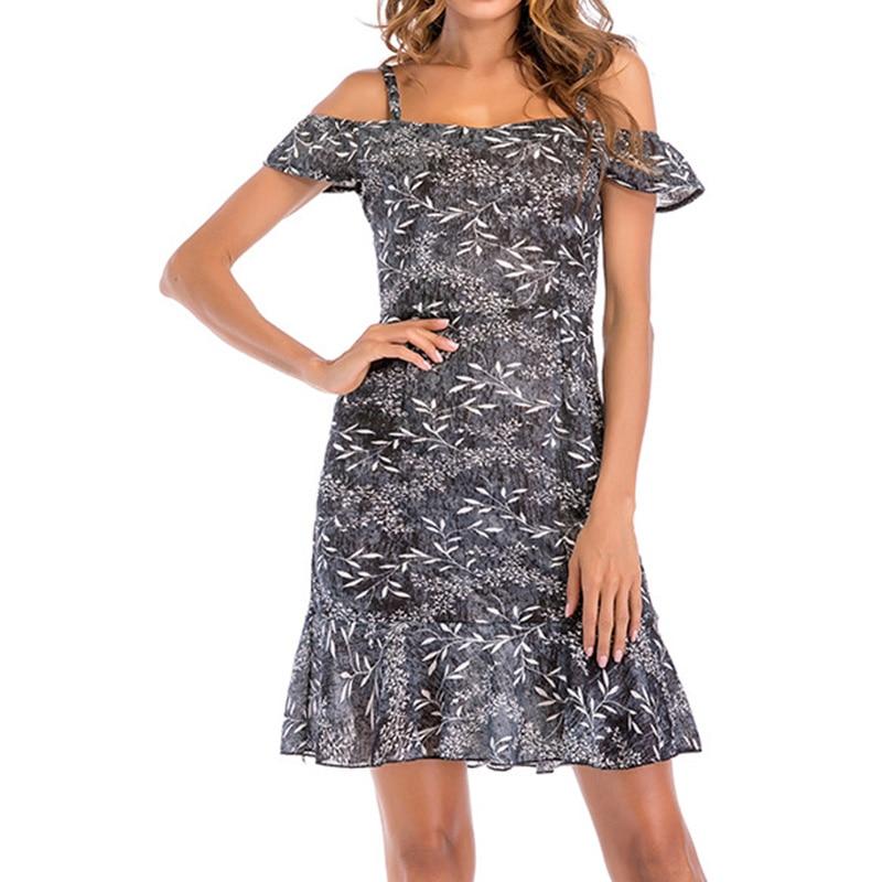 Sexy Off Shoulder Slash Neck Office Dress 2018 Summer Floral Print Beach Dress Casual Flare Sleeve Women Dress Vestidos