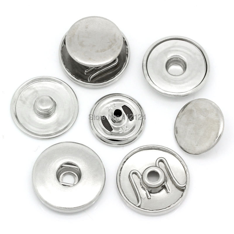 50 Sets Copper Snap Buttons Press Silver Tone DIY Jewelry Making Component 19mm 18mm