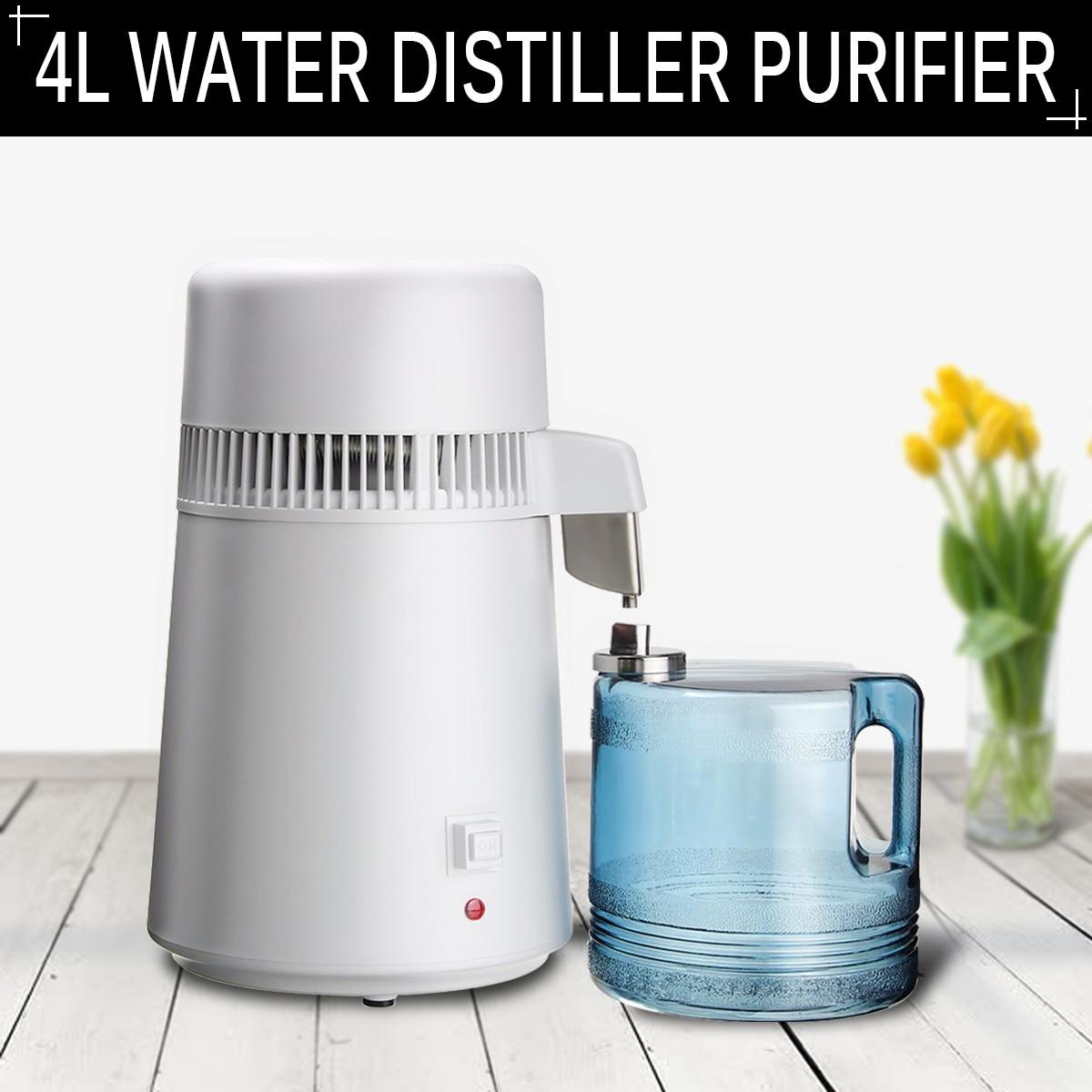 4L домашний дистиллятор чистой воды фильтр дистиллированная вода машина Дистилляция воды очиститель оборудование из нержавеющей стали пластиковый кувшин