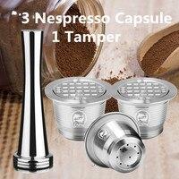 Nespresso aço inoxidável reutilizável recarregável café cápsula filtro tamper café pod para nespresso máquina|Filtros de café| |  -