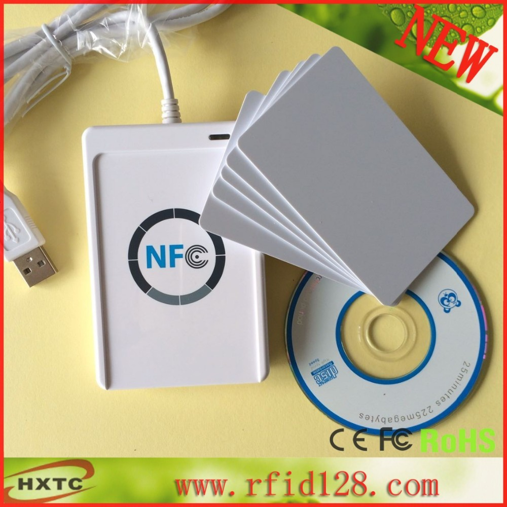 ACR122U 13.56Mhz USB NFC RFID Contactless Smart Card Reader With Free SDK and 5pcs test card contactless 14443a ic card reader with usb interface 5pcs cards 5pcs key fob 13 56mhz rfid black color
