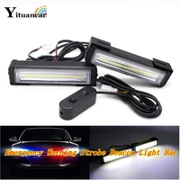 Yituancar 2X 40W COB LED Strobe Flash Warning Car Light Remote Control 8 Modes Styling Fireman Police Traffic Emergency Fog Lamp