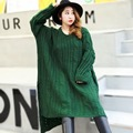 Green Sweaters 2017 New Style Plus Size Casual Women Hollow Out O-neck Loose Oversize Long Knitting Sweater FH9109