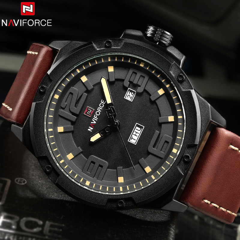 2017 New Arrive NAVIFORCE Fashion Casual Watch Men Waterproof 3TM Leather Strap Mens Watches Top Brand Luxury Relogio Masculino moers 3tm relogio mj8010 3
