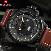 2017 New Arrive NAVIFORCE Fashion Casual Watch Men Waterproof 3TM Leather Strap Mens Watches Top Brand