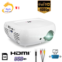 2018 New W1 LED HD 1080P Mini Home Projector 1800 Lumens Upport HMDI USB SD VGA