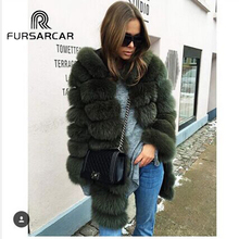 Fur Coat Leather Hood Fashion Warm Thick Lady Long Natural Real Fur