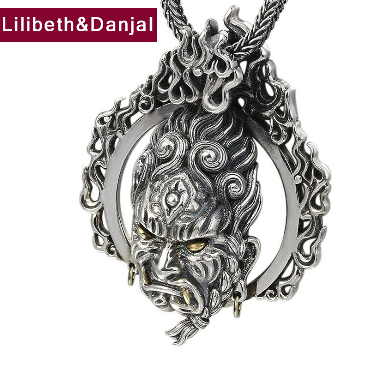 2019 Hiphop Buddha Immobile king Pendant 100 925 Sterling Silver Men Women Wedding Necklace Pendant Jewelry