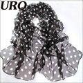 Летом Стиль Длинный женщина Шелковые шарфы 50*160 см Дизайнер Горошек Печати Женский Лето Sheer шарфы Q5A16237