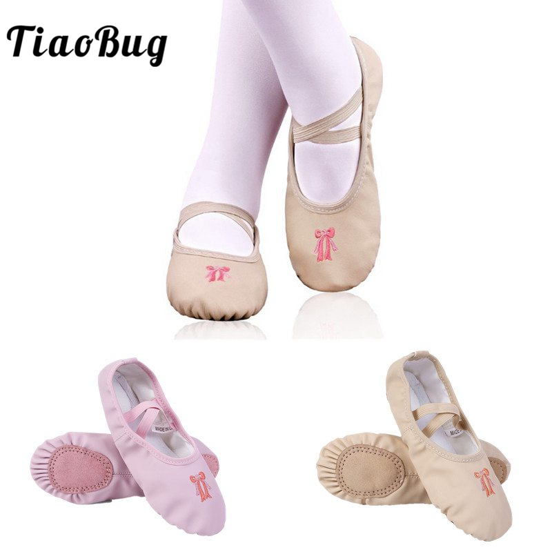 TiaoBug Girls PU Leather Ballet Dance Shoes Sneakers Kids Slipper Split Sole Flat Practice Shoe Children Gym Fitness Dance Shoes
