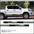 2 PC hilux TRD HILUX chequered racing side stripe graphic Vinyl sticker for TOYOTA HILUX decals