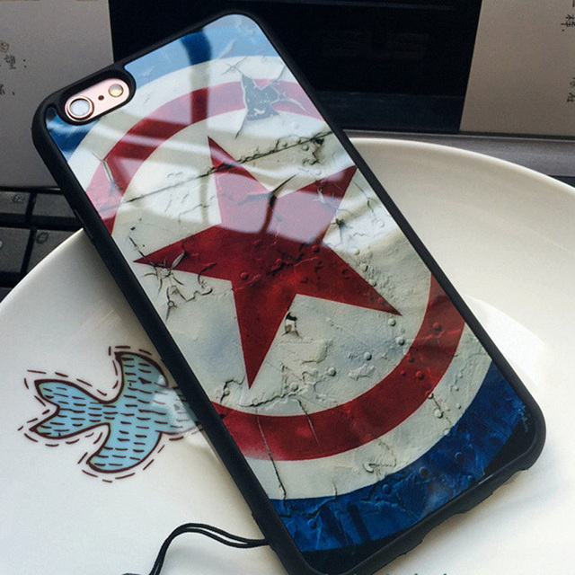 Captain America Superman Half Mirror Back Cover Phone Case For Iphone 7 6 6s 4.7 / 7 Plus  5 5S SE