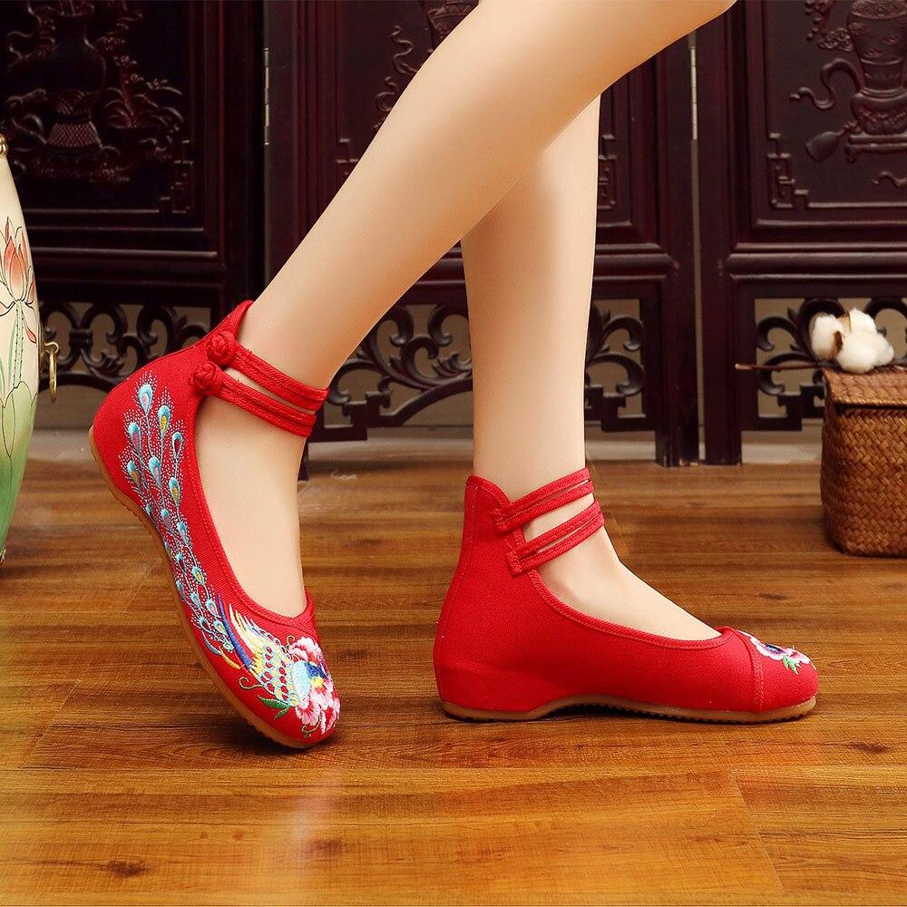 Femme Chinois Mid Toile Vieux Chaussures Top Brodé Pékin Veowalk vert Appartements Coton Casual Paon Ballet rouge Souple Beige Femmes Broderie noir 0wgWf7Sqz