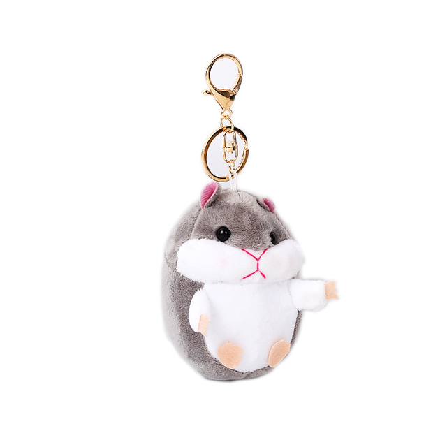 2017 Bonito Bugiganga Mini Pom Pom Chaveiros Mulheres Fluffy Coelho Boneca de Brinquedo de pelúcia Hamster Brinquedo Hamster Boneca Saco Anel Chave Do Carro jóias chaveiro