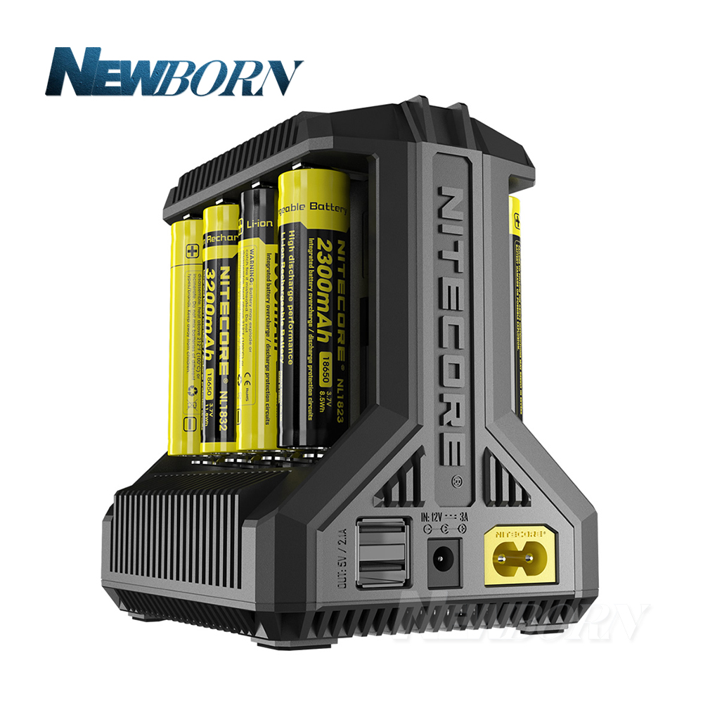 Nitecore i8 Intelligent Charger 8 Slots Total 4A Output Smart Charger for IMR18650 16340 10440 AA AAA 14500 26650 and USB Device uniquefire bc u8 4 slots battery charger for 14500 16340 17335 aaa more black silver