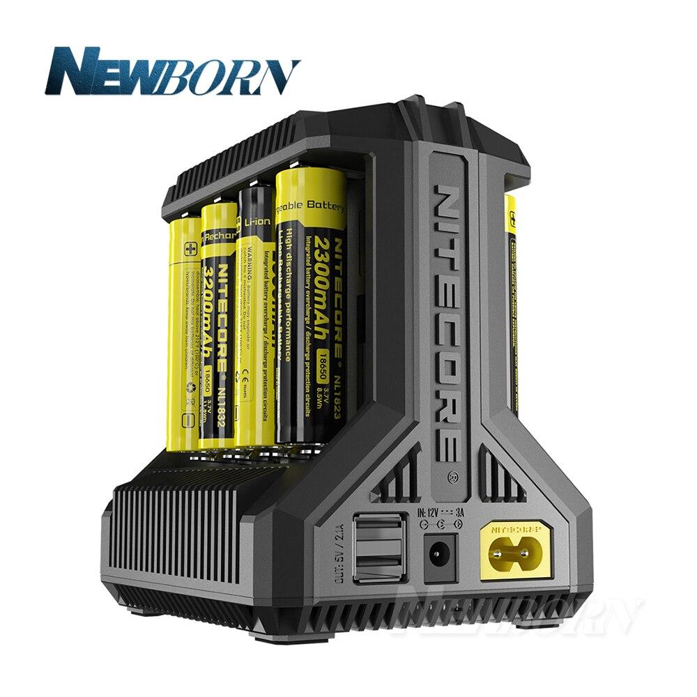 Nitecore i8 Intelligente Caricatore 8 Slot Totale 4A Uscita Caricatore Astuto per IMR18650 16340 10440 AA AAA 14500 26650 e dispositivo USB