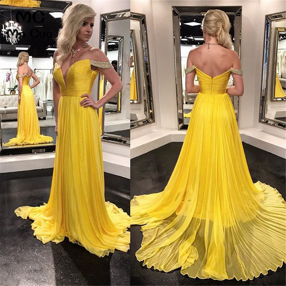 Yellow Classic Off Shoulder   Bridesmaid     Dresses   Long with Beaded Pleat Chiffon Formal Wedding Party   Dress   Women   Bridesmaid     Dress