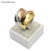 Size 6 7 8 9 Stainless Stee Silver 18K Real Gold Rose Gold Plated 3 Color