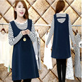 New Autumn Maternity Clothes Suit Pregnancy Dress Full Sleeve Striped Tshirt+Solid Casual Tank Vest Dress for Pregnant Women