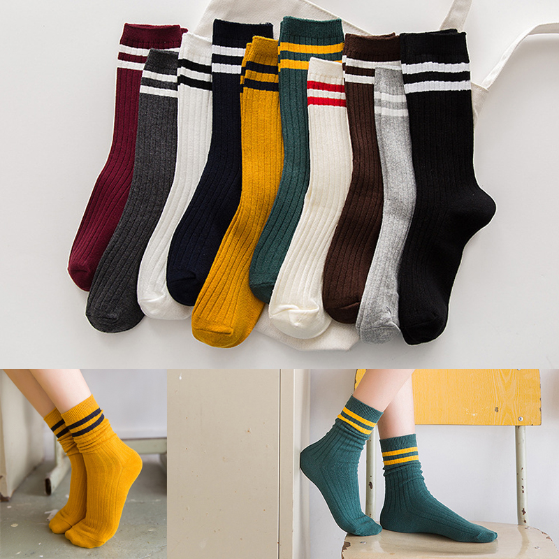 2019 Autumn And Winter New Two Bars Cotton Ladies Pile Pile Socks Harajuku Sports School Wind Double Needle In The Tube Socks
